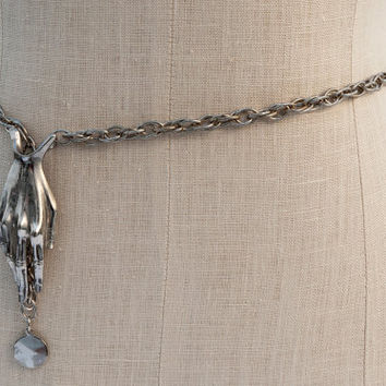 Vintage Silvertone Chain Belt/Silver Hand Belt/Novelty 70s Hand Belt/Hand Necklace