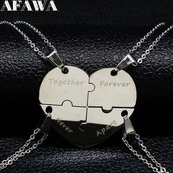 2018 Best Friend Stainless Steel Necklaces & Pendants for Women Heart Silver Color Statement Necklace Jewelry collares N18112