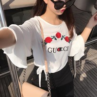 GUCCI ROSE embroidery A chiffon shirt with a seven-minute sleeve for 2017 spring style loose lotus leaf side top girl tee