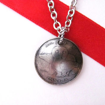 Canadian Coin Necklace, Owl Polar Bear Pendant, 25 Cents, 1999 New Millenium, April - Our Northern Heritage, Upcycled Jewelry by Hendywood