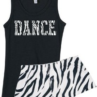 Dance Zebra Stripe Tank & Short Set (small, Black)