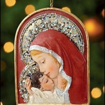 "Holy Family Catholic Religious Ornaments, St. Mary, Arched Madonna and Child Ornament, Material: Resin Size: 3"" H"