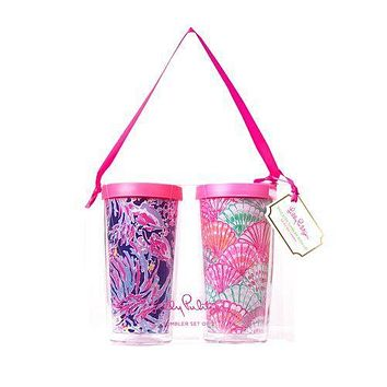 Insulated Tumbler Set in Oh Shello/Shrimply Chic by Lilly Pulitzer