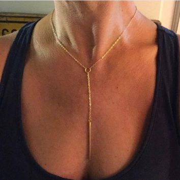 Delicate Sexy Gold Minimalist Bar Necklace