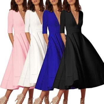Jessica's Store Women's Long Ball Gown Prom Ladies Evening Party Swing Dress DZ001
