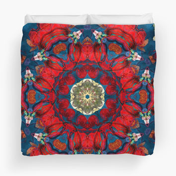 'mandala 10 red blue #mandala' Duvet Cover by Lionmixart