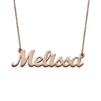 18k Rose Gold Plated Script Name Necklace - Custom Made with Any Name! (14 Inches)