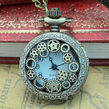 Retro Bronze Design Pocket Watches With Chain Men Steampunk Pendant Necklace Pocket & Watch Gift for Lovers Drop #D