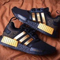 Versace x Adidas NMD R1 Fashion Breathable Running Sports Shoes Sneakers