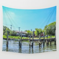 An Old Dock in the Historic Harbor Wall Tapestry by Gwendalyn Abrams