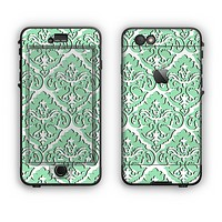 The Mint & White Delicate Pattern Apple iPhone 6 Plus LifeProof Nuud Case Skin Set