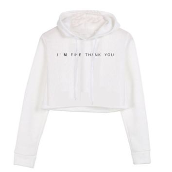 I'm Fine Thank You Crop Hoodie