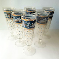 Etruscan Frieze Mid Century 22k gold Decorated Pilsner Glasses Set of 6 by Cera