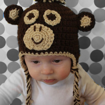 Monkey Earflap Hat for toddler or baby by makinitmama on Etsy