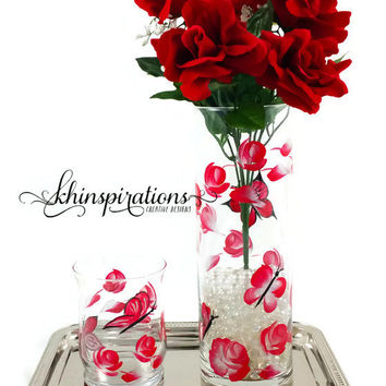 Butterfly Makeup Brush Holder and Butterfly Vase Set, Matching Flowers and Butterfly Home Decor, Bath and Beauty Chic Whimsical