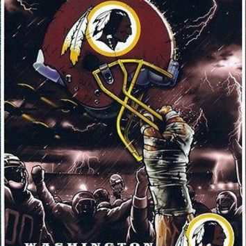 Washington Redskins NFL Sky Helmet Raschel Plush 60x80 Twin Size Throw/Blanket