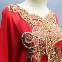 Red Sequin Caftan Dress Chiffon Wedding Summer Party Kaftan Embroidery Dress