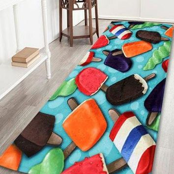 Colorful Ice-lolly Coral Fleece Bathroom Floor Rug