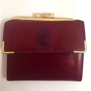 1970s Oxblood & Gold Buxton Genuine Leather Wallet Including Insert