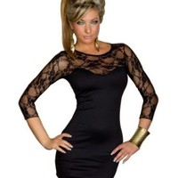 Amazon.com: Intimates21 -Sexy Blk Lace Long Sleeves Mini Dress Clubwear: Clothing