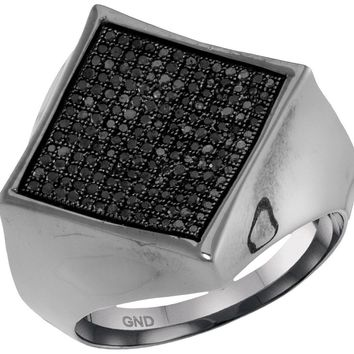 10kt White Gold Mens Round Black Colored Diamond Square Cluster Ring 1/2 Cttw