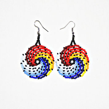Beaded Huichol Earrings - Ying Yang Earrings - Fire and Water Wave Earrings - Sun and Moon Earrings - Native American - Native Earrings