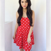 All It Takes Polka Dress- Red from shopoceansoul