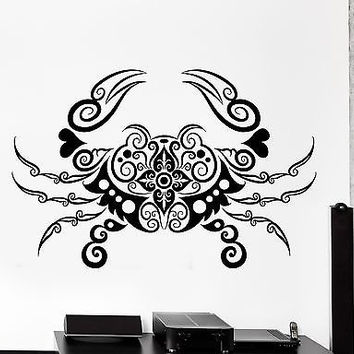 Wall Decal Crab Sea Lake Ornament Tribal Mural Vinyl Decal (z3199)