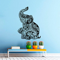 Elephant Wall Decal Indian Pattern Decal Vinyl Sticker Wall Decor Home Interior Design Art   VK97