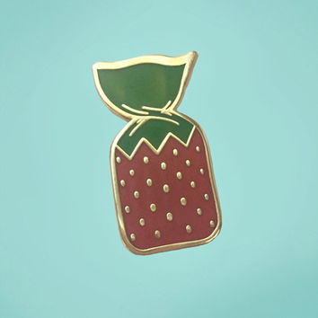 Strawberry Candy Enamel Pin | Strawberry Pin | Hard Enamel Pin | Cloisonne | Candy Enamel Pin
