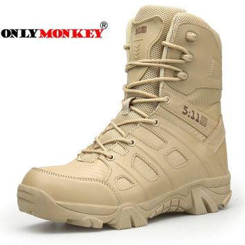 ONLYMONKEY Large Size 39-46 Men Outdoor Army Boots Men's Military Desert Tactical Boot Shoes Autumn Hiking Ankle Boots Sports