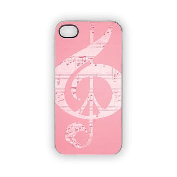 Pink iPhone Case, Pink Peace Case, Music Notes, Pastels, Pink, Music, Peace Sign, Glee, Choir, Band, Rock, Pop, iPhone 5, iPhone 4S/4
