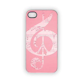 Pink Music iPhone Case, Pink Peace Case, Music Notes, Pastels, iPhonecases, Peace Sign, Glee, Choir, Band, Rock, Pop, iPhone 5, iPhone 4S/4