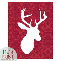 Vintage DEERHEAD Antlers and DAMASK RED Wall Paper  by pixiepixels