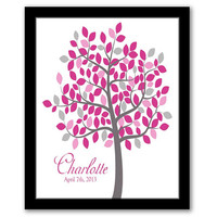 Tree Nursery Art, Personalized Baby Gift, Pink & Grey Nursery, Baby Girl Decor, Baby Shower Gift, Kids Room, Digital Wall Art, Printable Art