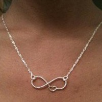 Sale! Infinity necklace w/ hear, sterling silver necklace
