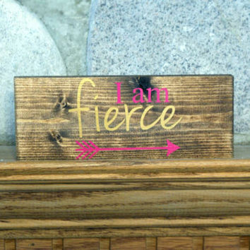 I am fierce wood block sign | girls room decor