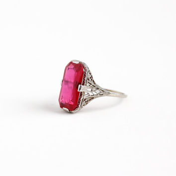 Vintage 14k White Gold Art Deco Created Ruby Filigree Ring - Size 8 1/2 Antique 1920s Pink Red Stone Statement July Birthstone Fine Jewelry
