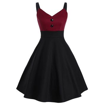 Red 1950s Patchwork Button Swing Dress