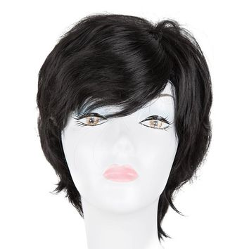 Black Wig Fei-Show Synthetic Heat Resistant Fiber Short Wavy Hair (1 Hairpiece+1 Wig Cap) Women Ladies' Wigs for Salon Party