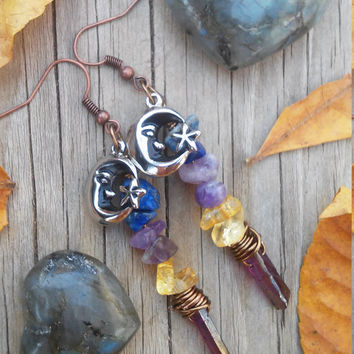 Luna Love earrings,  raw crystal earrings, lapis lazui, citrine, Amethyst, violet aura Quartz