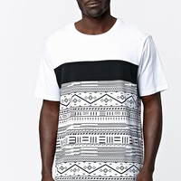On The Byas Blythe Stripe Mesh Longline T-Shirt - Mens Tee - White