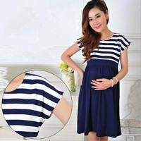 2016 New Women Long Dresses Maternity Nursing skirt for Pregnant Women Breastfeeding Women's Clothing Mother Home Clothes L/XL