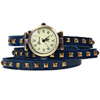 Blue Leather Geneva Roman Numeral Watch