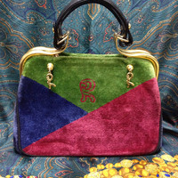 MINT. Vintage Roberta di Camerino wine red, navy, and green triangle velvet handbag, rare purse with a large logo and dangling R charms.