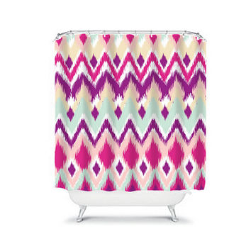 iKat Shower Curtain Aztec Tribal Chevron Aqua Pink Purple Colors Pattern Bathroom Bath Polyester Made in the USA