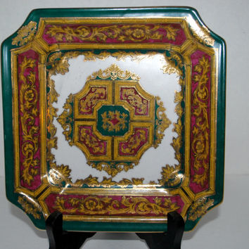 Andrea by Sadek decorative square plate   green and gold  square home decor plate