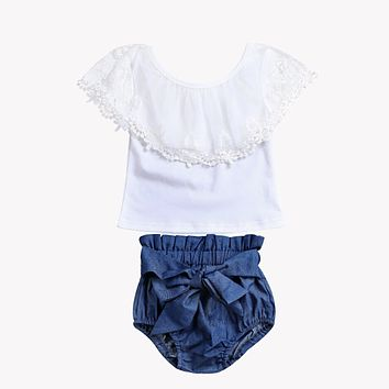 Adorable Toddler Kids Baby Girls Clothing Set Lace Tops Short Sleeve Shirt Denim Shorts Outfits Set Clothes