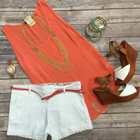 Belted Trim Shorts: White
