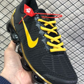 DCCK N807 Nike Air Vapormax Flyknit 2019 Nanotechnology Drop Plastic Shock Absorbing Slip-proof and Wear-resistant Sports Shoes Black Yellow